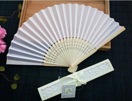 Wholesale crafts favors - Luxurious Silk Fold hand Fan in Elegant Laser Cut Gift Box Black Ivory Party Favors Wedding Gifts Arts and Crafts Home 2017