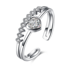 Wholesale Cheap Ring Real - Cheap Real 925 Sterling Silver Rings for Women Heart Finger Anel Zircon Jewelry Luxury Bijoux Weddings Ring Bridesmaids Jewelry Resizable