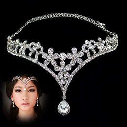 Wholesale Crown Hair For Girls - Elegant Bridal Jewelry Headpieces Crown 2017 Stock Silver Jewelry Rhinestone Crystal Fashion Hair Accessories for Wedding Party Girls