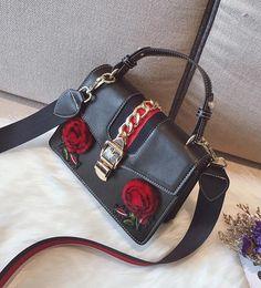 Wholesale B Lock - wholesale brand handbag new fashion leather handbag embroidered flowers stereo stripe portable single shoulder bag street style embroidery b