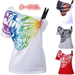 Wholesale American Flag Shorts Women - Casual Women American Flag Rainbow Butterfly Print Tee S-XXXXXL Short Sleeves Off Shoulder Skew Collar Sexy T-Shirt