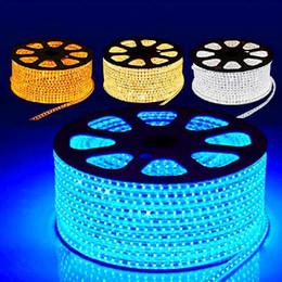 Wholesale 24v Round Led Lights - Wholesale - 50M Roll 12V 24V 110V 220V 5050 60 leds m LED strip light waterproof pure color led strip light