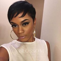 perruques bon marché livraison gratuite Promotion Perruque humaine pas cher africaine américaine courte perruques pour les femmes noires cheveux courts couper le style de cheveux courts pleine perruque pour les femmes livraison gratuite