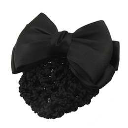 All'ingrosso-New Practical Black Bowknot Decor Snood Net Barrette Hair Clip Bun Cover cheap hair clip covers wholesale da clip di capelli copre all'ingrosso fornitori