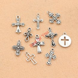 Wholesale Wholesale Craft Cross Charms - Wholesale-10pcs Mixed Tibetan Silver Plated Cross Jesus Charms Pendants Jewelry Making Diy Charm Crafts Handmade m032