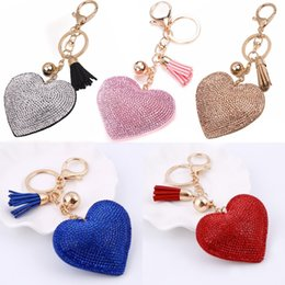 Wholesale Design Keychain Carabiner - Hot Sale Leather Keychain Girl's Romantic Rhinestone Heart Design Pendant Key Chains Crystal Bag Keychain Gift Free DHL D299S