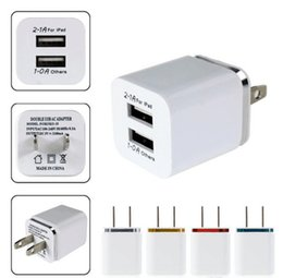 Ipad eu plug online-Cargador de carga USB de doble pared de metal EE. UU. Enchufe de la UE Adaptador de corriente alterna AC 2.1A Cargador de pared Enchufe 2 puertos para Iphone Samsung Galaxy Note LG Tablet Ipad