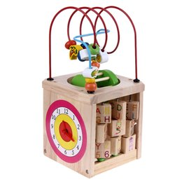 Wholesale Wooden Toys Bead Maze - Wholesale- Multi-function Wooden Around Bead Maze Math Toy Letters Recognition Abacus Clock Learning Educational Toy for Preschool Kids