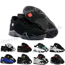 Wholesale Packaging Box Shoes - 2017 Air Retro 14 DMP Basketball Shoes For Men Black Gold 98 Deigning Moments Package Sneakers Sport Shoes with Original Box US 8-13