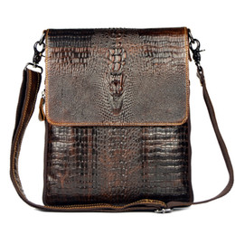 Wholesale handbag crocodile skin - Wholesale-First Layer Cow Skin 100% Genuine Leather Bag For Men Crocodile Style Men's Business Messenge Bag Tablet PC handbag