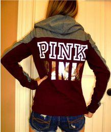 Wholesale Love Pink Shorts L - Love Pink Hoodie Women Tracksuit Pink Sweatshirt Patchwork Gmyshark Outwear Long Sleeve Unicorn Hoodies
