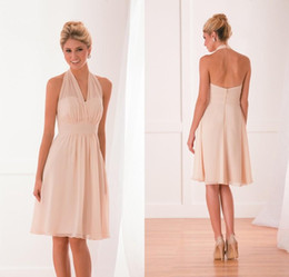 Wholesale Mother Bride Dresses Halter - Simple chiffon knee length short a line mother of the bride dresses halter neck zipper back maid of honor wedding guest dress