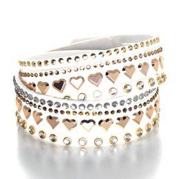 Wholesale Wholesale Tennis Bracelets Free Shipping - 2017 Fashion punk Leather Bracelets for women star Crystals Stone hearts bracelets bangles Couple statement Jewelry wholesale Free shipping
