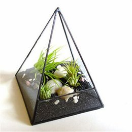 Wholesale Glass Terrarium Kit - Air Plant Terrarium, Glass Pyramid Terrarium Planter. Terrarium Kit Accessories,Glass Geometric Terrarium Gardening Decoration Vase H 93