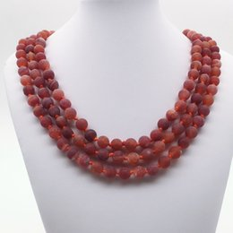 """Wholesale Red Knot Necklace - 8mm 60""""Hand Knotted Matte Red Agate ,Long Necklace ,8mm Red Agate Beads Necklace ,Gemstone Necklace,Gifts"""