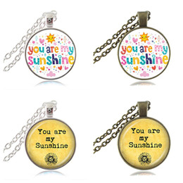 Wholesale Glasses Sunshine - You are My Sunshine Letters Pendant Colorful Quote Necklace Words Jewelry Glass Cabochon Photo Choker Neckless Women Fashion Accessories