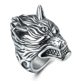 Wholesale Titanium Wolf Ring - hot selling stainless steel jewelry fashion cool designer wolf anti rust retro engraved titanium steel mens rings