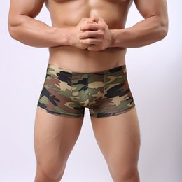 Wholesale Sexy Silk Men Boxer Shorts - Sexy Gay Underwear Men Boxers Ice Silk Low Waist Shorts Camouflage U Convex Pouch Breathable Underpants