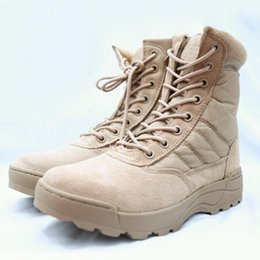 Wholesale Boots Tactical Khaki - Military Tactical Combat Outdoor Sport Army Men Boots Desert Botas Hiking Autumn Shoes Travel Leather High Boots Male