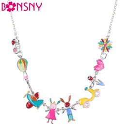 Wholesale rabbit plane - Bonsny Maxi Alloy Rabbit PLANE Necklace Chain Enamel Jewelry Colorful Pendant 2017 New Fashion Jewelry For Women Statement