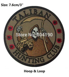 """Wholesale Hunting Clothes Wholesale - 3"""" TALIBAN HUNTING CLUB DEATH REAPER HEAD HUNTER Hoop & Loop PATCHES MORALE MILSPEC badge for clothing cap bags hat"""