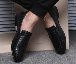 Wholesale Elevator White Shoes - Fashion Crocodile Leather Men Wedding Weaving Dress Shoes Red Black Formal Oxford Shoes Bottom Elevator Shoes Mens Creepers Chaussure Homme
