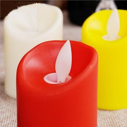 Wholesale Pillar Candle Red - Pair Of Newest Wedding Decoration Candles Safety Simulation Dancing Flame Led Candle Romantic Red  White Velas