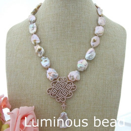 """Wholesale Pink Pearl Necklace 14k - AB081112 19"""" Pink Keshi Pearl Necklace CZ Pendant"""