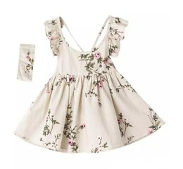 Wholesale Cotton Christmas Jumpers - INS baby girl toddler Kids Summer clothes Rose Floral Dress Jumper Jumpsuits Halter Neck Ruffle Lace Shoulder Sexy Back headband C001