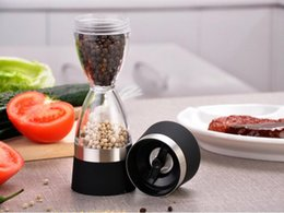 Wholesale Portable Milling - Stainless Steel Manual Salt Pepper Mill Grinder Grind 2 In 1 Ceramic Core Portable Stocked Kitchen Mill Muller Tool Black  Red 20PCS YYA842