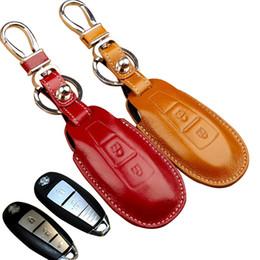 Wholesale Leather Cross Keychain - Leather Auto Key case For Suzuki Maruti Ciaz Baleno New SX4 vitara Swift s-cross kizashi key cover holder key wallets keychain accessories