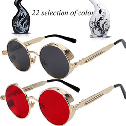 Occhiali da sole online-Occhiali da sole rotondi in metallo Occhiali da sole steampunk per uomini e donne Occhiali da sole Occhiali da sole Comodi e comodi da indossare