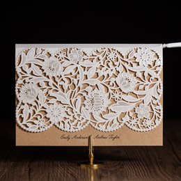 Wholesale White Royal Wedding Card - Wholesale-cw5173 white royal wedding invitation card  greeting card with laser cut and ribbon
