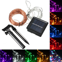luces solares llevadas de interior de la secuencia Rebajas Impermeable 15 M 150 LED Solar Powered Wire String Fairy Light Navidad Party Decor interior o al aire libre DEL_017
