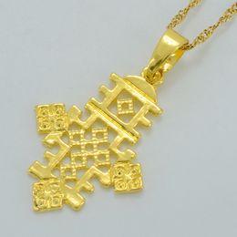 Wholesale Ethiopian Jewelry - Ethiopian Small Cross Pendant Thin Chain for Women's Girl, Gold Plated Eritrea Religion Jewelry Africa Crosses #048506