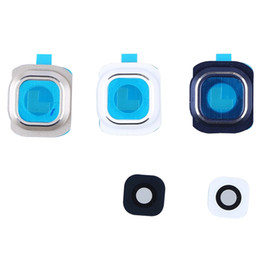 Wholesale Camera Slider Wholesale - For Samsung Galaxy S6 G9200 G920F G920A G920T G925F New Camera Glass Lens Cover With Frame Replacement Parts Blue Gold White free shipping