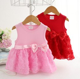 Wholesale Mini Gift Bows - 2016 New Girls Summer Dress Pink Red Girls Party Dresses Rose Tutu Skirt Bowkont Belt Cute Summer Dress Good Gifts High Quality DressyQ0539