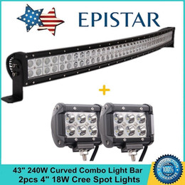 "Wholesale White Led Work Light Bar - 43"" 240W 80pcs X 3W Cree Curved LED Work Light Bar Spot Flood Combo Beam 12V 24V ffroad Truck 2x4 ATV Lamp WORKLAMP"