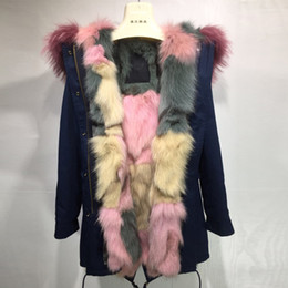 Wholesale Lining Coat Sale - Popular Ice cream pink fur Mr & Mrs itlay navy blue coats MMF long jackets sale Mr & Mrs Furs Fox Fur lined Canvas parka