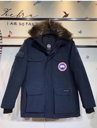 Wholesale Canada Long Down Coat - 2017 Canada New Arrival sale men's Down parka Chateau Black Navy Gray Jacket Winter Coat Parka Fur sale With Free Shipping Outlet