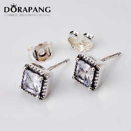 Wholesale Hanging Stud - DORAPANG Authentic 925 Sterling Silver Earring Timeless Elegance With Crystal Studs Hanging Earrings Compatible With Jewelry 6005