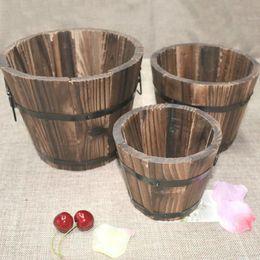 Vasi da fiori in legno online-Rustico piccolo rotondo in legno fiore barile vaso di fiori fioriera per la decorazione domestica giardino di nozze spedizione gratuita ZA4179
