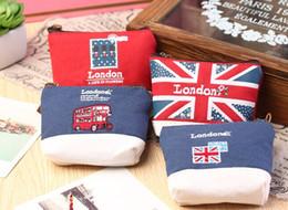Wholesale London Canvas Bag - Wholesale- Kawaii 4Designs Retro London 10CM Mini Canvas Coin Purse & Wallet Case BAG ; Women Handbag Makeup Storage Holder Case BAG Pouch