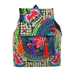 Wholesale Embroidered Bags Handmade - Wholesale- New National Chinese Style Embroidery Backpack Handmade Embroidered Shoulder Bag School Travel Tassel Backpack