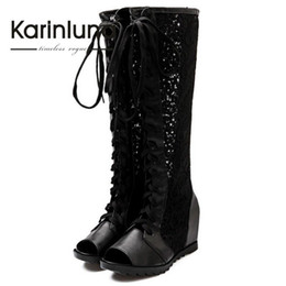 Wholesale Lace Cutout Boots - Wholesale-Big size 34-43 Lace Up Knee High Boots 2016 New Design Sexy Open Toe Wedges Med Heel Rubber Sole Cutout Lace Uppers Summer Boots