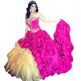Wholesale Dresses For Sweet 15 - Custom Made 2017 Ball Gown Quinceanera Dresses Sweetheart Appliques beaded Ruched Satin Gold Organza Prom Dress for Sweet 15