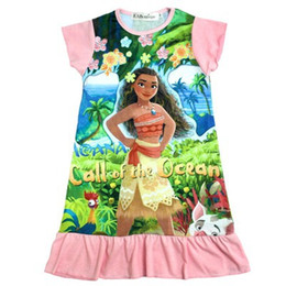Wholesale Wholesale American Girl Pajamas - 2017 12 style Summer Baby Girl Dresses Cartoon Trolls and Moana Beauty and the beast kids Pajamas Ruffle Girls Clothes Children Clothing