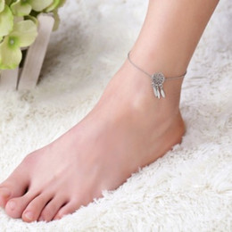 cute foot chain Promo Codes - Boho Dream Catcher Ankle Chain Gold  Silver Filled Anklet Chain Foot Chains Barefoot Beach Sandals Gothic Girls Cute Anklets