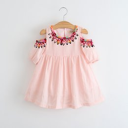Wholesale Summer Kids Dress Fashion - Hug Me Girls Dress Kids Clothing 2017 Spring Summer Print Dress Fashion Short Sleeve Cotton Princess Dress EC-244