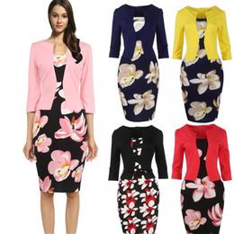 Wholesale Hot Ladies Work Dress - Hot Sale Vestidos 2017 Women Autumn Floral Pencil dress Bodycon Office ladies dresses Bandage work Elegant 4XL Plus Size FS0671